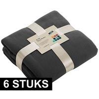 James & Nicholson 6x Fleece dekens/plaids donkergrijs 130 x 170 cm Grijs