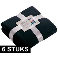 James & Nicholson 6x Fleece dekens/plaids marineblauw 130 x 170 cm Blauw