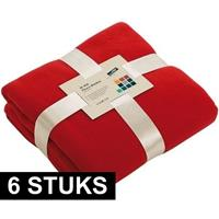 James & Nicholson 6x Fleece dekens/plaids rood 130 x 170 cm Rood