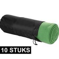 10x Fleece deken groen 150 x 120 cm Groen