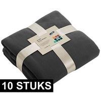 James & Nicholson 10x Fleece dekens/plaids donkergrijs 130 x 170 cm Grijs