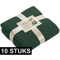 James & Nicholson 10x Fleece dekens/plaids donkergroen 130 x 170 cm Groen