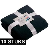 James & Nicholson 10x Fleece dekens/plaids marineblauw 130 x 170 cm Blauw