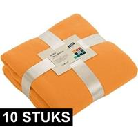 James & Nicholson 10x Fleece dekens/plaids oranje 130 x 170 cm Oranje