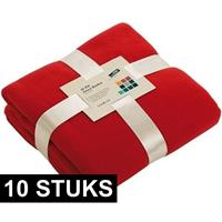 James & Nicholson 10x Fleece dekens/plaids rood 130 x 170 cm Rood