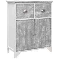 VidaXL Bijzetkast 60x30x75 cm paulowniahout grijs en wit