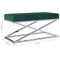 Bankje 97 cm fluweel en roestvrij staal groen