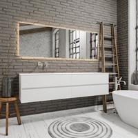 zaro Sevilla Solid Surface badmeubel 200cm mat wit zonder kraangat spoelbak links met 4 lades