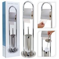 Bathroom Solutions Toiletpapier-/toiletborstelhouder rvs zilverkleurig