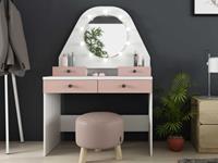 Vente-Unique.nl Kaptafel GABRIELA - Spiegel met ledverlichting en opbergruimtes - Wit en roze