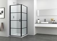 badstuber Stripe zwarte douchecabine 90x80cm rechthoek