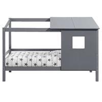 Leen Bakker Bed Ties met opzetdak - antraciet - 90x200 cm