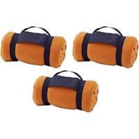 3x Fleece dekens/plaids oranje afneembaar handvat 160 x 130 cm Oranje