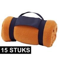 15x Fleece dekens/plaids oranje afneembaar handvat 160 x 130 cm Oranje