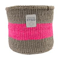 Stapelgoed Sisal Mand Grey / Pink