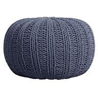 Leen Bakker Poef Milou - grijsblauw - Ø46x32 cm