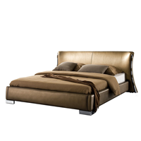 Beliani Waterbed leer goud 140 x 200 cm met LED multicolor PARIS