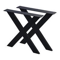 Furniture Legs Europe Set zwarte X tafelpoten 72 cm (profiel 10 x 4)