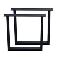 Furniture Legs Europe Set zwarte U tafelpoten 72 cm (profiel 10 x 4)