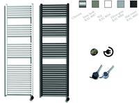 sanicare electrische design radiator 172x45cm zilver-zwart