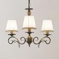Lindby Finnick kroonluchter, 3-lamps, messing