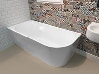 aqualine Tibera vrijstaand hoekbad glans wit 170x80cm links