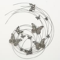 Boltze Home Wandobject vlinders 83x98cm metaal grijs