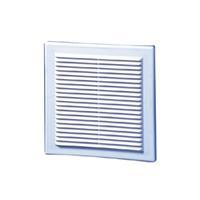 Plieger ventilatierooster kunststof met gaas 206 x 206 mm, wit