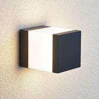 Lindby LED sokkellamp Litas, hoekig, donkergrijs