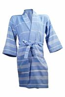 The One Towelling Hamam badjas - Blauw / Wit