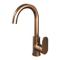 brauer Copper Edition wastafelmengkraan hoog draaibare uitloop energy-saving ronde uitloop handgreep 1 Koper Geborsteld PVD