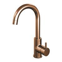 brauer Copper Edition wastafelmengkraan hoog draaibare uitloop energy-saving ronde uitloop handgreep 2 Koper Geborsteld PVD