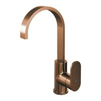 brauer Copper Edition wastafelmengkraan hoog draaibare uitloop energy-saving rechte uitloop handgreep 1 Koper Geborsteld PVD