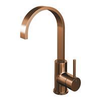 brauer Copper Edition wastafelmengkraan hoog draaibare uitloop energy-saving rechte uitloop handgreep 3 Koper Geborsteld PVD