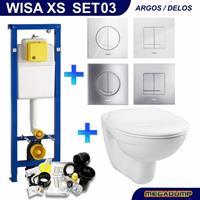 WISA Xs Toiletset 03 Megasplash Basic Smart Met Bril En Drukplaat - Standaard Argos Wit - 8050414601