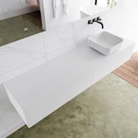 Mondiaz LAGOM 180cm badmeubel solid surface talc 2 lades Wastafel BINX opzetkom rechts zonder kraangat M64188TAM0M49903R