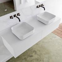 Mondiaz LAGOM 150cm badmeubel solid surface talc 2 lades Wastafel BINX opzetkom dubbel zonder kraangat M64185TAM0M49903D