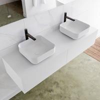 Mondiaz LAGOM 150cm badmeubel solid surface talc 2 lades Wastafel BINX opzetkom dubbel 2 kraangaten M64185TAM2M49903D