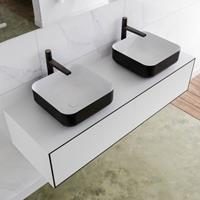 Mondiaz LAGOM 130cm badmeubel solid surface urban 2 lades Wastafel BINX opzetkom dubbel 2 kraangaten M64183UBM2M49904D