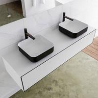 Mondiaz LAGOM 150cm badmeubel solid surface urban 2 lades Wastafel BINX opzetkom dubbel 2 kraangaten M64185UBM2M49904D