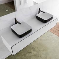 Mondiaz LAGOM 160cm badmeubel solid surface urban 2 lades Wastafel BINX opzetkom dubbel 2 kraangaten M64186UBM2M49904D
