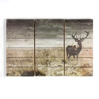 Art For the Home Print op Hout - Hert - 90x60 cm