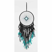 Spiru Dromenvanger Diamant Gehaakt Zwart-Turquoise