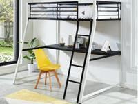 Vente-Unique.nl Hoogslaper MALICIO - bed 90 x 190 cm - ingebouwd bureau - Zwart en wit
