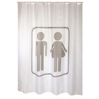 MSV douchegordijn Man/vrouw grijs 180cm