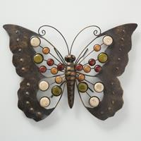Boltze Home Wanddecoratie vlinder metaal 43x31cm
