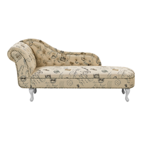 Beliani Chaise longue stoffering beige met bedrukking links-zijdig NIMES