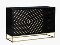 Vente-Unique.nl Art-decobuffetkast PRISMIN - 3 laden en 2 deuren - Mangohout en metaal - Zwart en goud