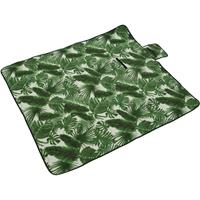 Decoris Fleece picknickkleed/plaid bladeren print wit/groen 135 x 150 cm Groen