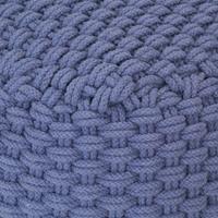 vidaXL Poef handgebreid 50x50x30 cm katoen blauw